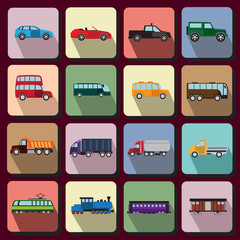 Vehicles flat icons