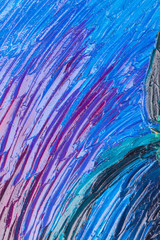 Close up of abstract painted canvas.