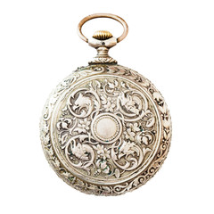 Ancient pocket watch isolated on white