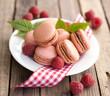 Macaroons, raspberries