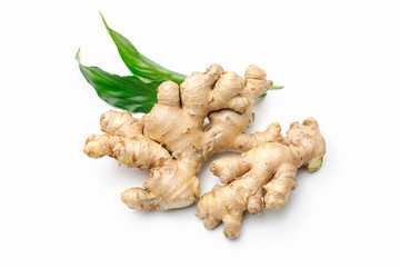 Ginger root with leaves