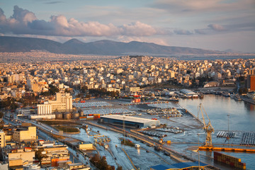 View of cargo port in Piraeus, Athens.