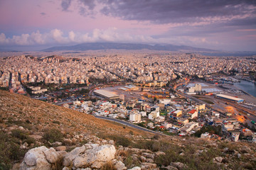 View of Athens from the foothills of Aegaleo mountain.