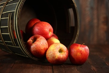 Red Apples on Wood Grunge Background