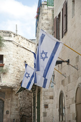 Israeli flags in the Jewish Quarter