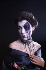 Gothic Expressive Girl on Plain Background