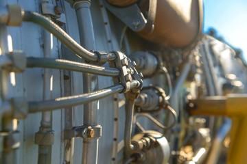 Jet engine of a fighter plane closeup