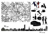 Map, sights  and hallmarks of Milan poster