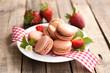 Macaroons, strawberries