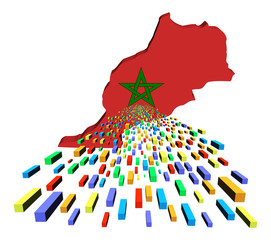 Morocco map flag with containers illustration