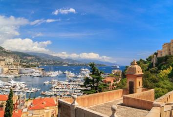 Panoramic view of Monaco harbor, French Riviera