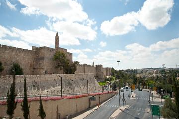 Jerusalem old city wall and king David tower