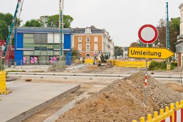 Umleitung - Bauarbeiten an einem Bahnübergang