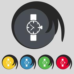 Wrist Watch sign icon. Mechanical clock symbol. Set colourful