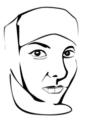 Muslim woman portrait without scarf on face