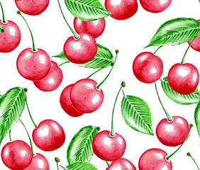 Watercolor cherry pattern