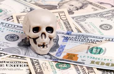 Skull on dolars