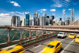 Group of blurred typical yellow New York cabs - 70176461