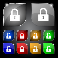Lock sign icon. Locker symbol. Set colourful buttons. Vector