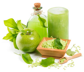 spa accessories and green apple