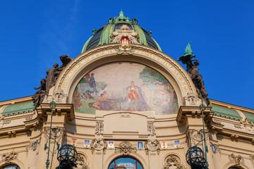 Jugendstilfassade des Gemeindehauses in Prag