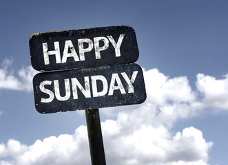 Happy Sunday sign with clouds and sky background