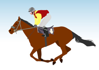 jockey riding race horse illustration - vector