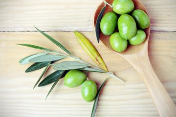Olive verdi e rami di ulivo