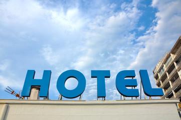 Anuncio de un hotel, letrero, hostelería