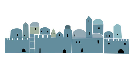 Old City, Middle East Town, Vector Illustration