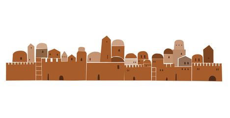 Old City, Middle East Town, Vector Illustration,