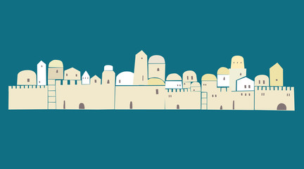 OLd City, Middle East Town, Jerusalem, Vector Illustration,