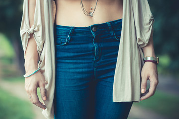 close up of belly button of young woman