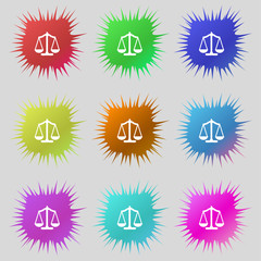 Scales of Justice sign icon. Court law symbol. Set colourful