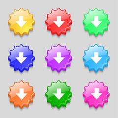 Download sign. Downloading flat icon. Load label. Set colourful