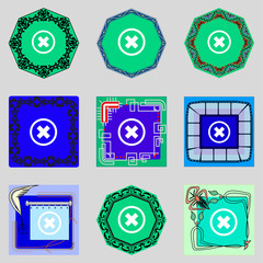 cancel icon. Flat modeern design Set colourful web buttons.