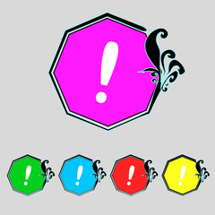 Exclamation mark sign icon. Attention speech bubble symbol. Set