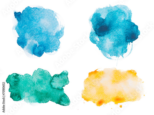Abstract watercolor aquarelle hand drawn colorful shapes art