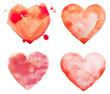 Leinwanddruck Bild - Hand draw watercolor aquarelle art paint love red heart with