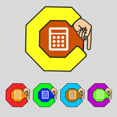 Calculator sign icon. Bookkeeping symbol. Set colourful buttons