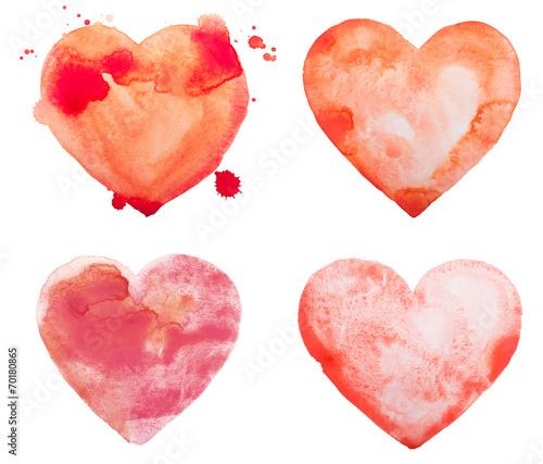 Leinwanddruck Bild Hand draw watercolor aquarelle art paint love red heart with