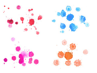 Abstract watercolor aquarelle hand drawn colorful drop splatter