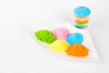 Colorful sugar on white blackgroud