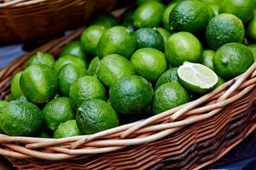 Limes in basket at the market
