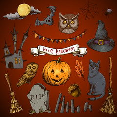 Set of Doodles Design Halloween Elements
