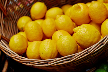 Lemons in basket at the market