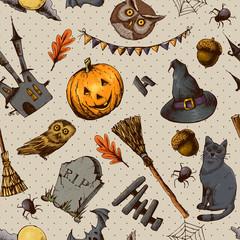 Vintage Hand drawn Halloween Seamless Background