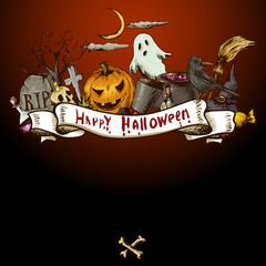 Hand-drawn Halloween Invitation Card