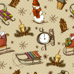 Hand-drawn Christmas Seamless Background
