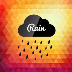 Retro styled autumn rain cloud design card
